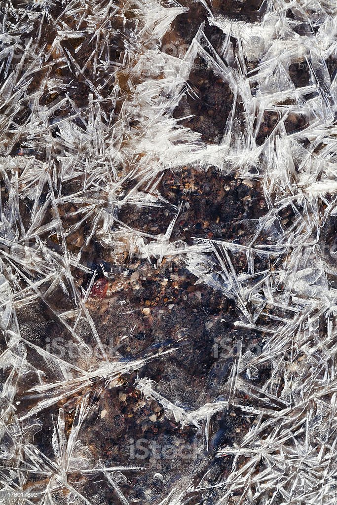 frost ice crystals under frozen stream royalty-free stock photo