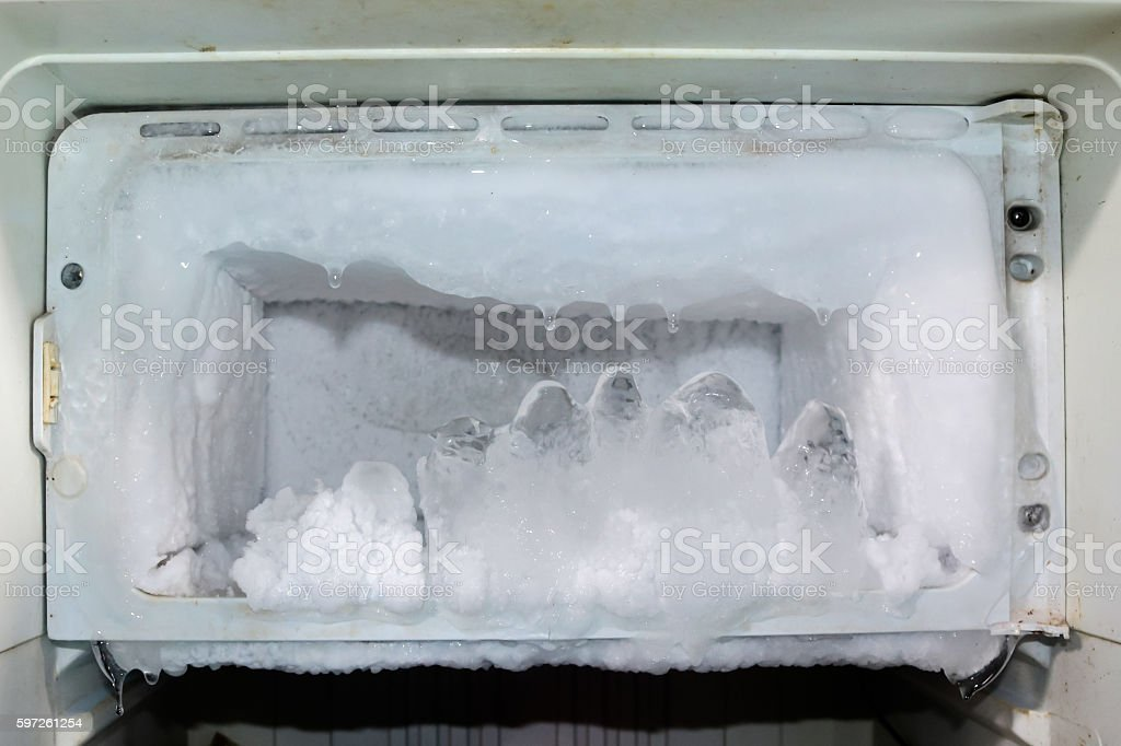 Frost in the fridge. stock photo