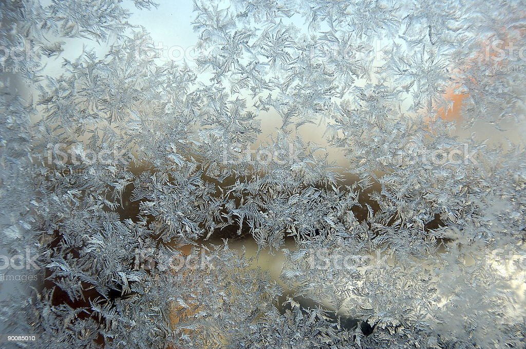 Frost pattern on glas royalty-free stock photo