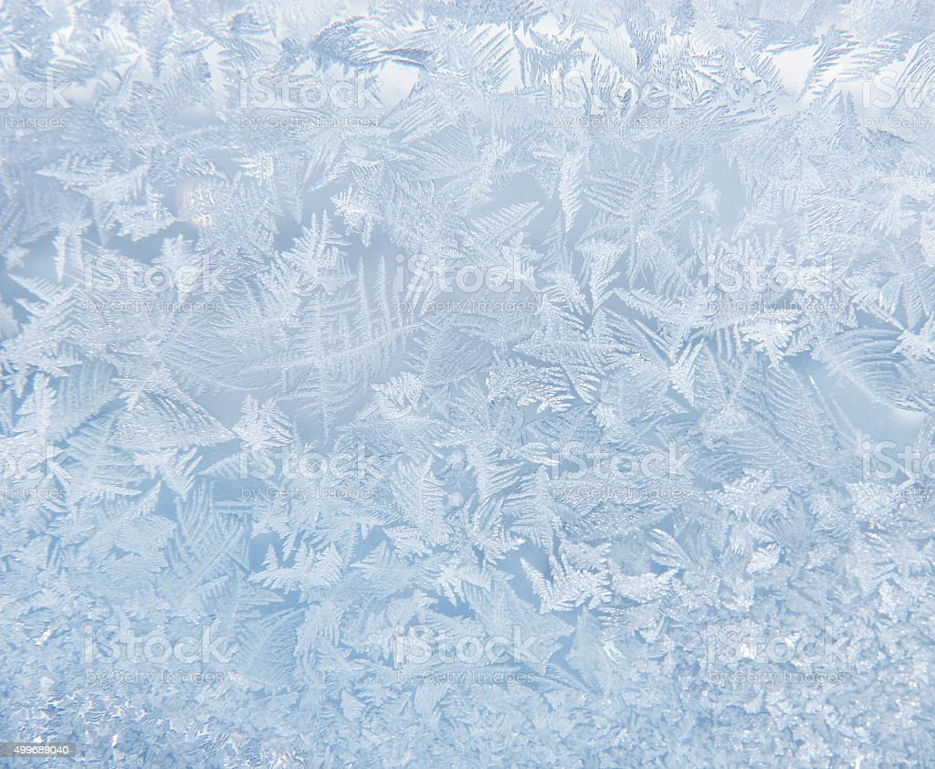 Frost pattern on the window stock photo