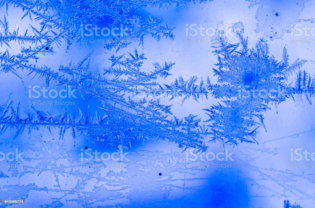 Frost pattern on the window. stock photo