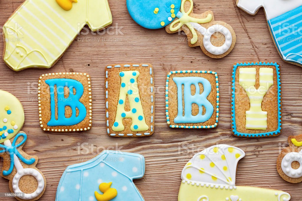 Frosted decorated cookies of baby related items stock photo