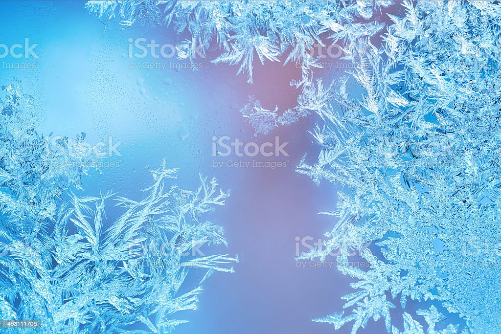 Frosted designs on glass stock photo