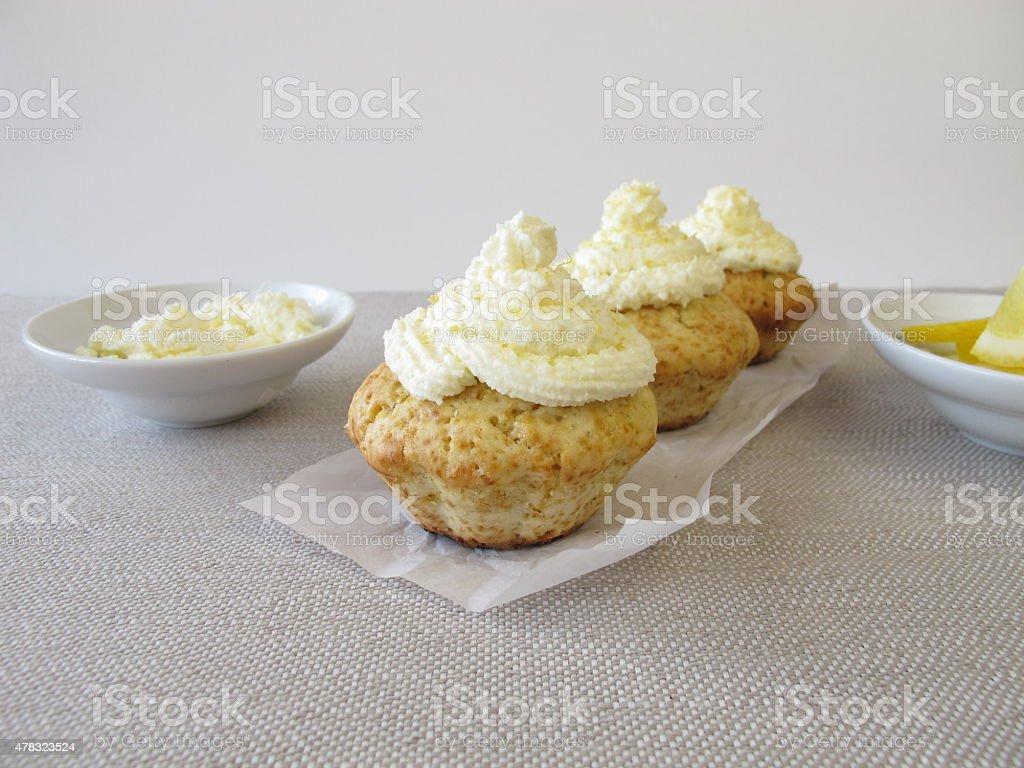 Frosted lemon cupcake stock photo