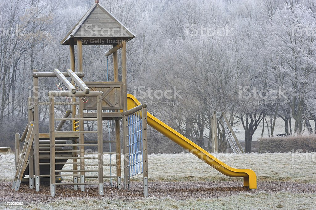 Frosted playground stock photo