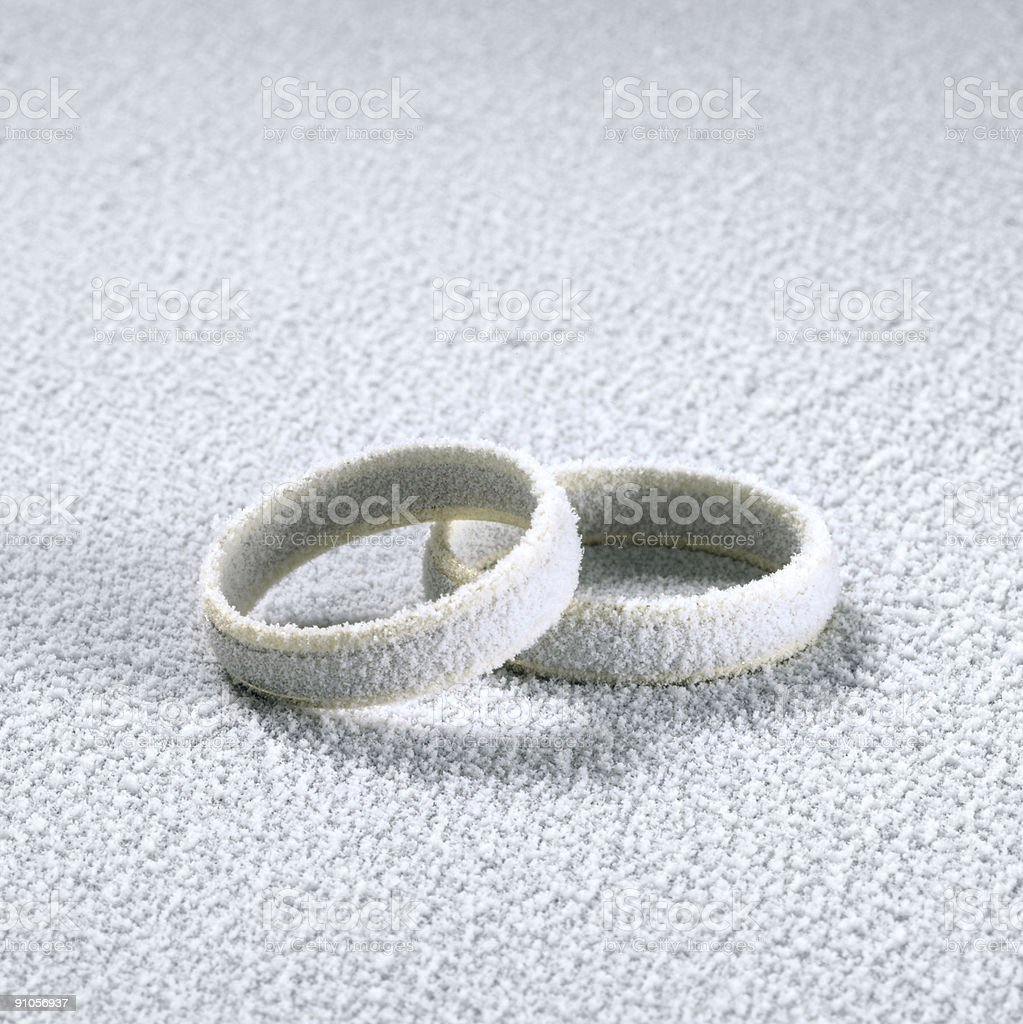 frosted wedding rings royalty-free stock photo