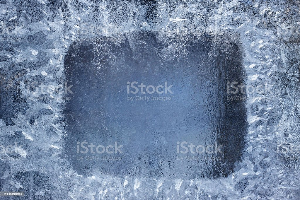 Frosted window frame stock photo