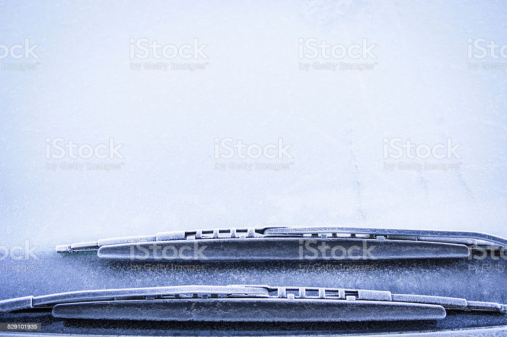 frosted windshield stock photo