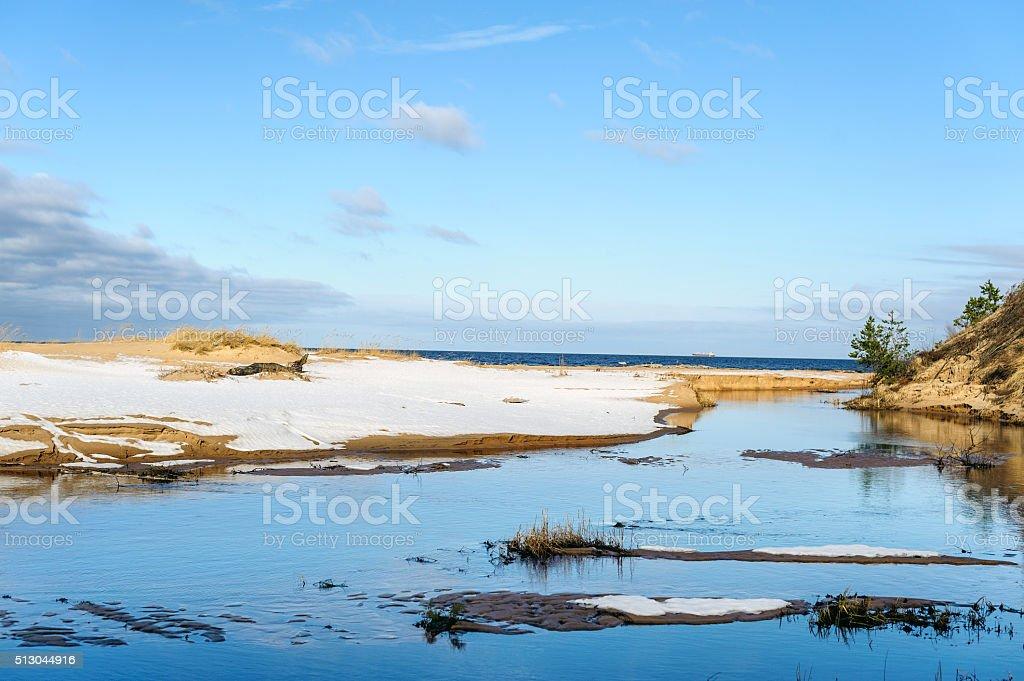 Frosty coastline of Baltic sea in stock photo