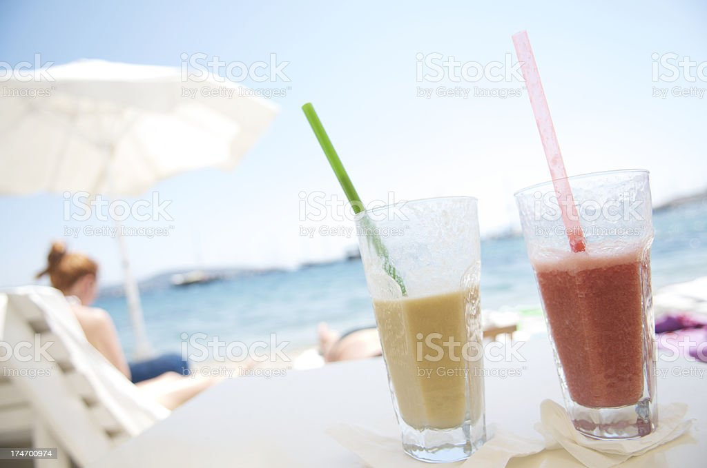 Frosty Drinks Beach Scene stock photo