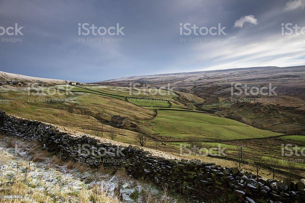 Frosty English Pastoral Landscape stock photo