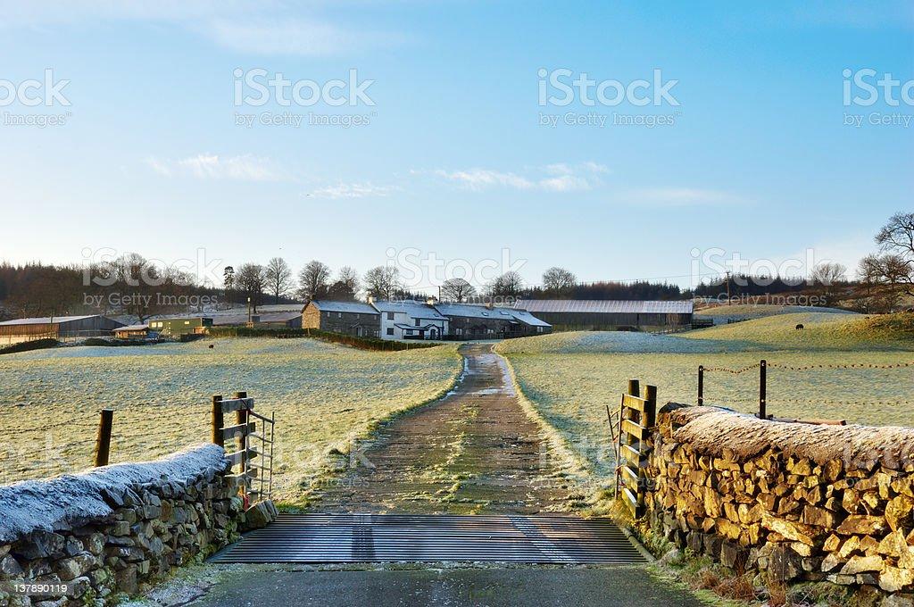 Frosty Farm Lane Hawkshead, English Lake District stock photo