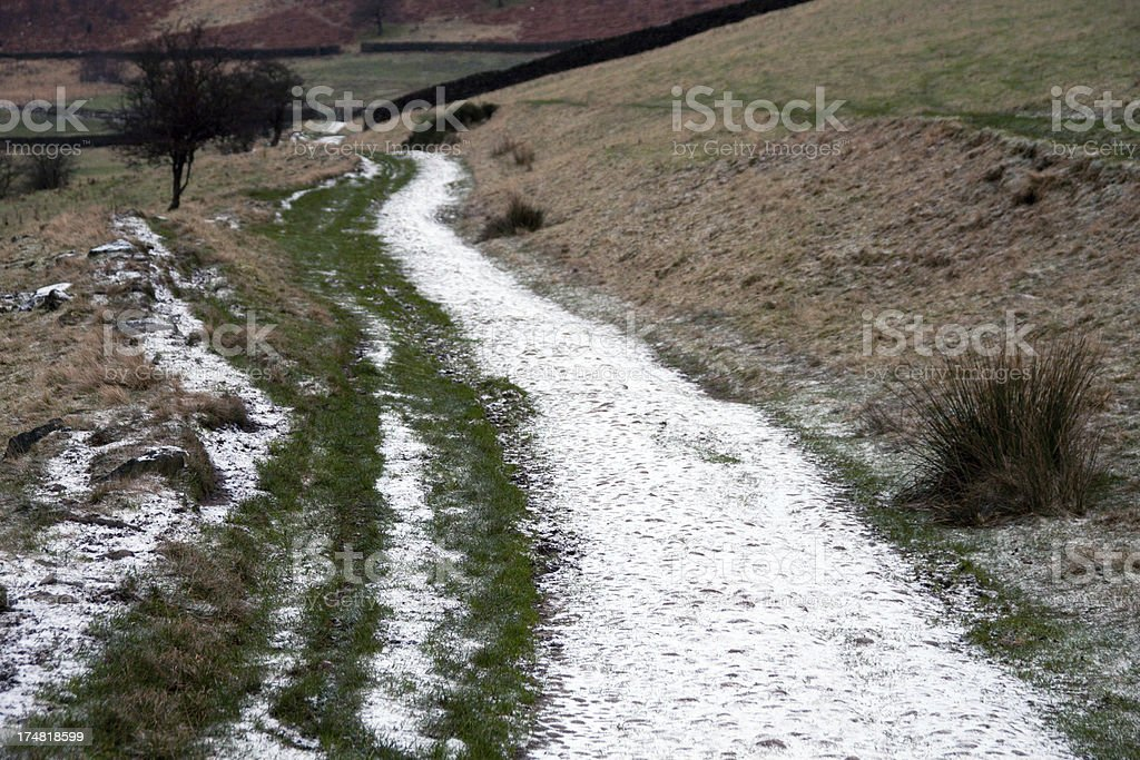Frosty farm track in the Peak District, Glossop stock photo