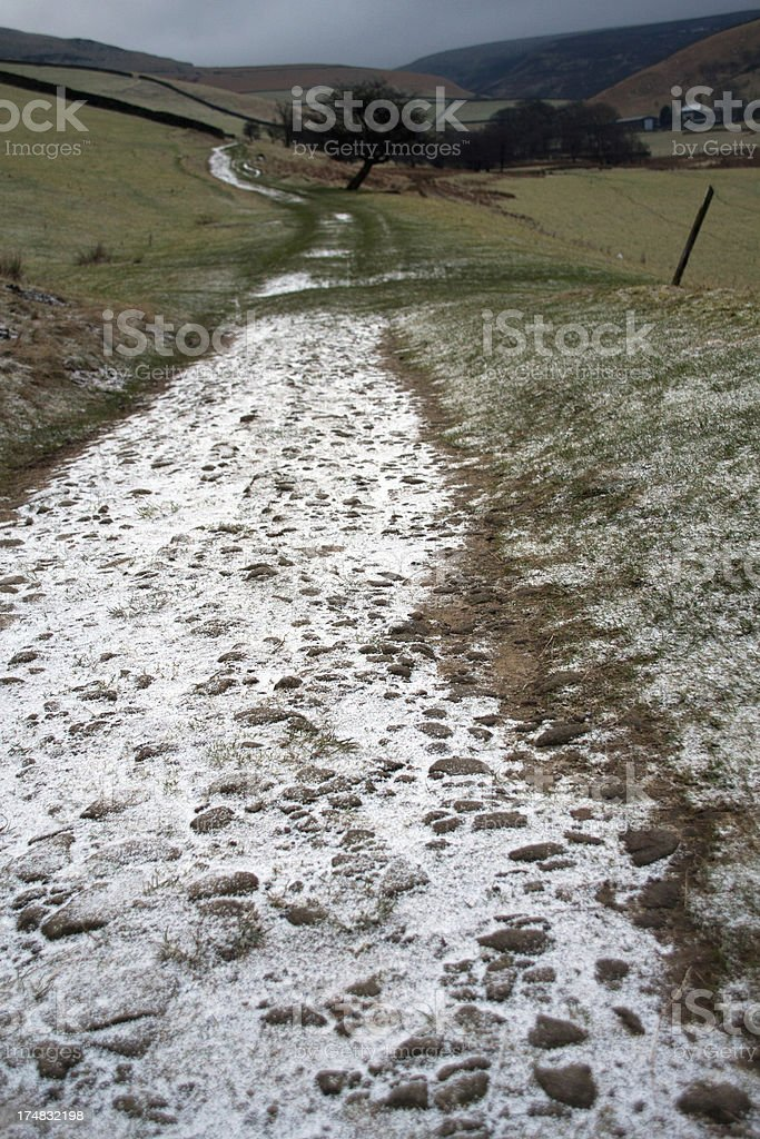 Frosty farm track in the Peak District stock photo