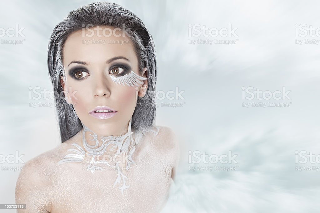 frosty girl in a snowstorm royalty-free stock photo