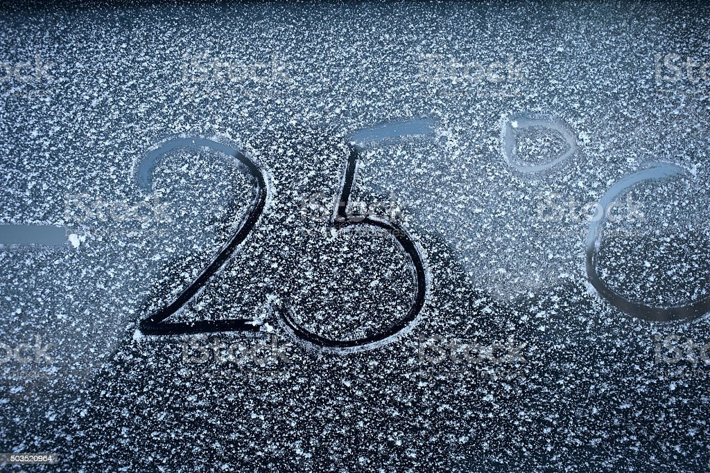 Frosty glass and sign on it.Concept of cold weather stock photo