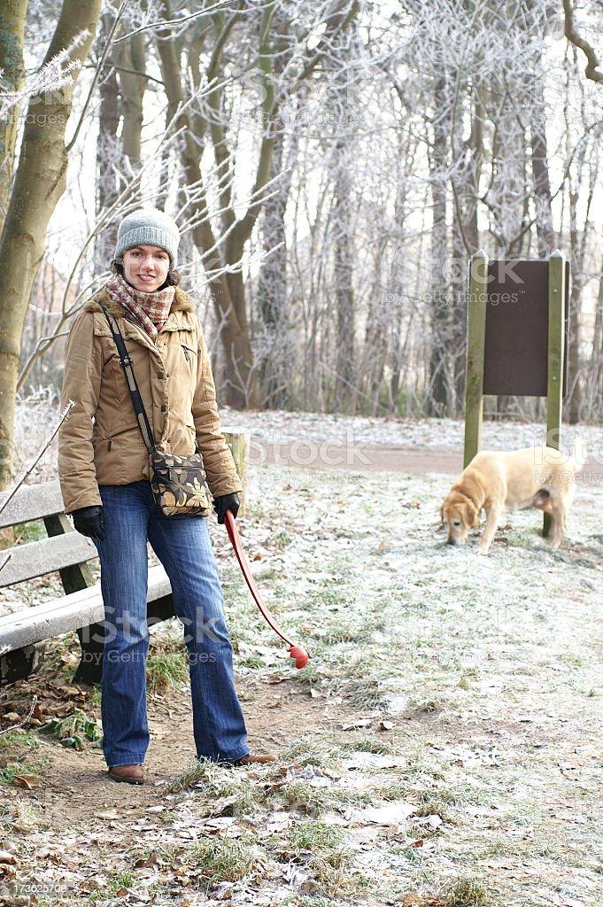 Frosty Morning Dog Walk royalty-free stock photo