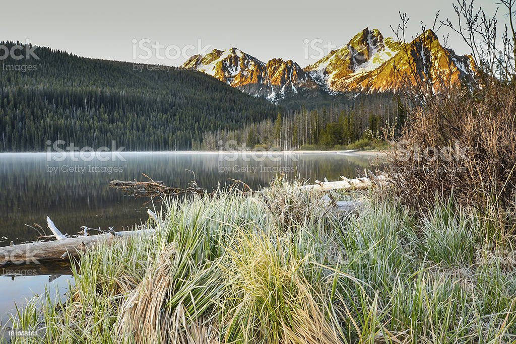Frosty morning on mountain lake. royalty-free stock photo