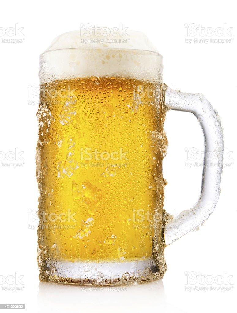 Frosty mug of beer stock photo
