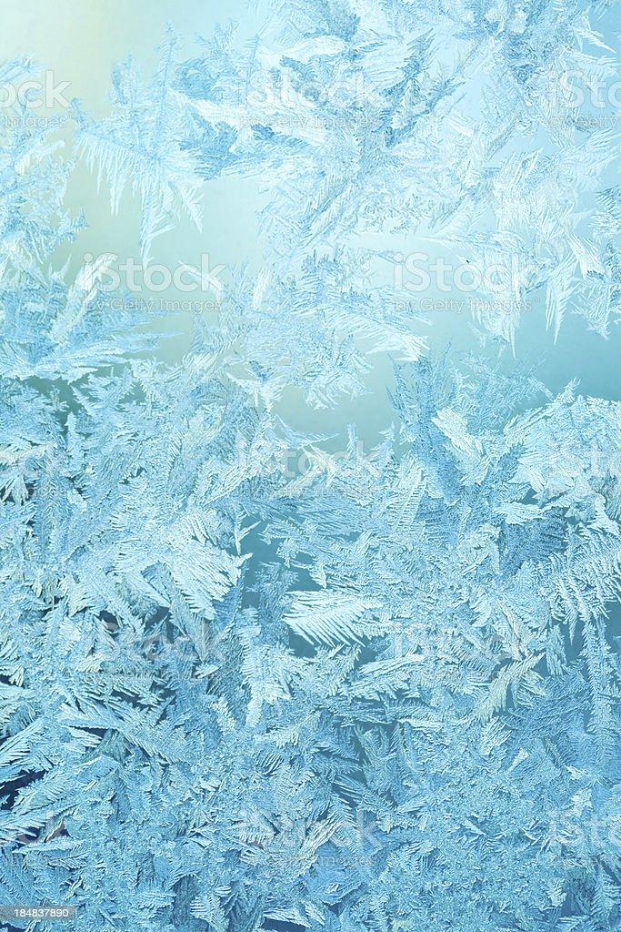 Frosty pattern on winter window stock photo