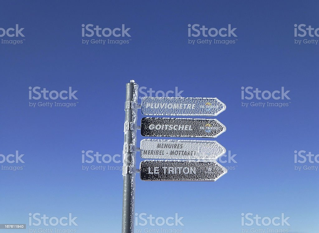 Frosty sign in the French Alps royalty-free stock photo