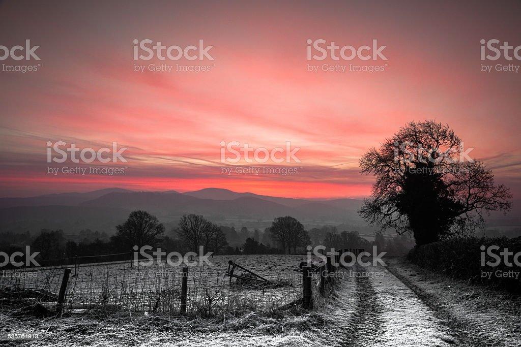 Frosty sunrise over the Malvern Hills stock photo