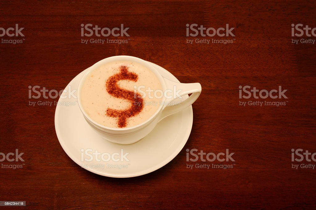 Froth Art with money symbol stock photo