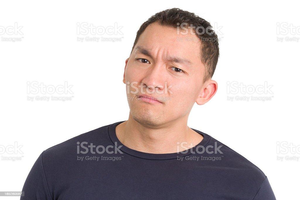 Frowning Asian Man royalty-free stock photo