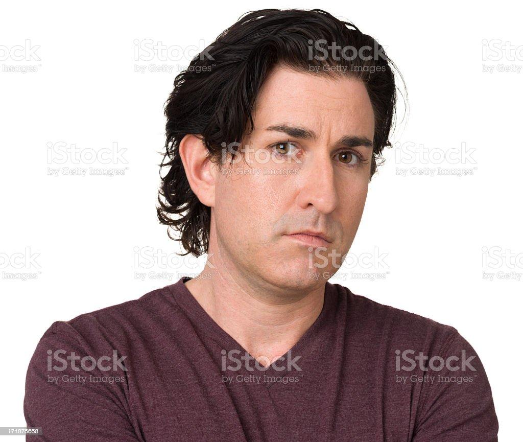 Frowning Man Staring At Camera royalty-free stock photo