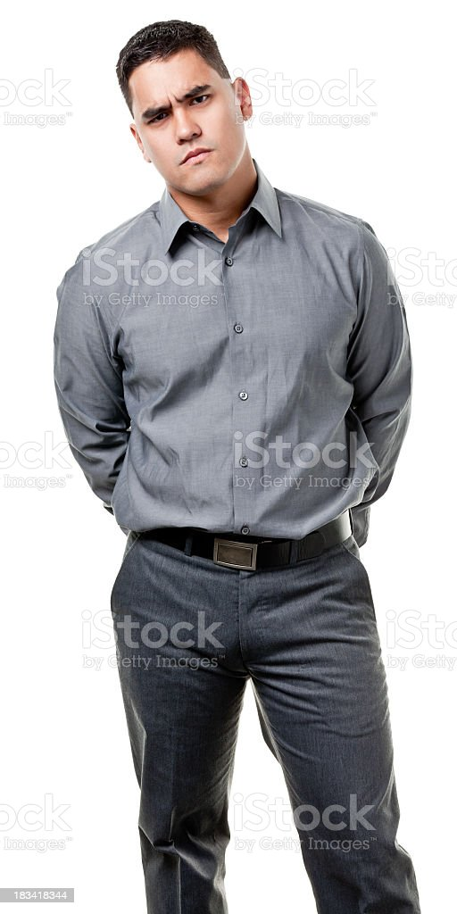 Frowning Young Man Standing royalty-free stock photo