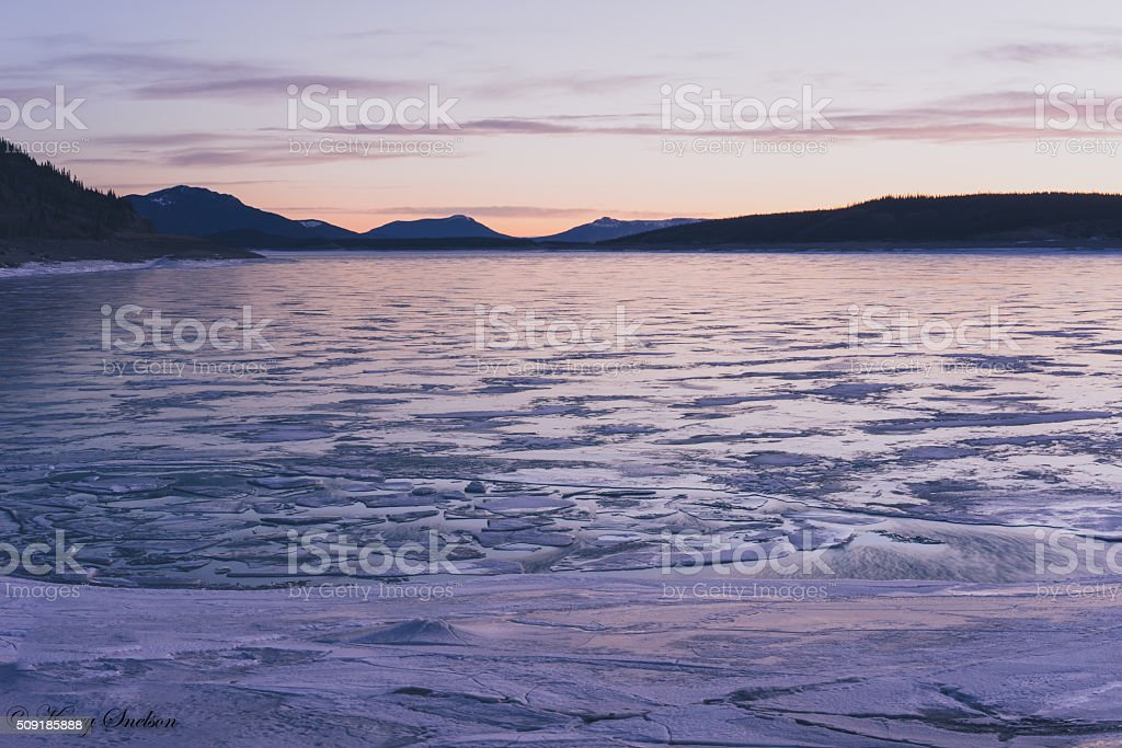 Frozen Abraham Lake at Dawn stock photo