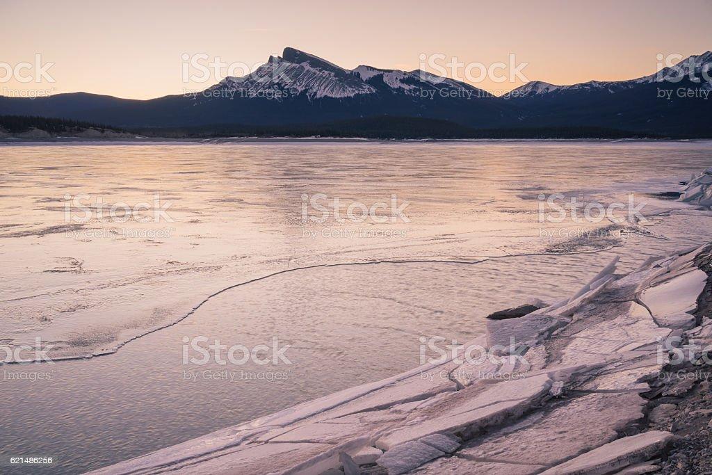 Frozen Abraham Lake with Mountain stock photo