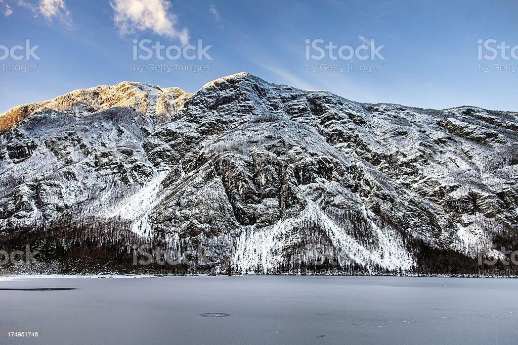Frozen alpine lake Bohinj royalty-free stock photo