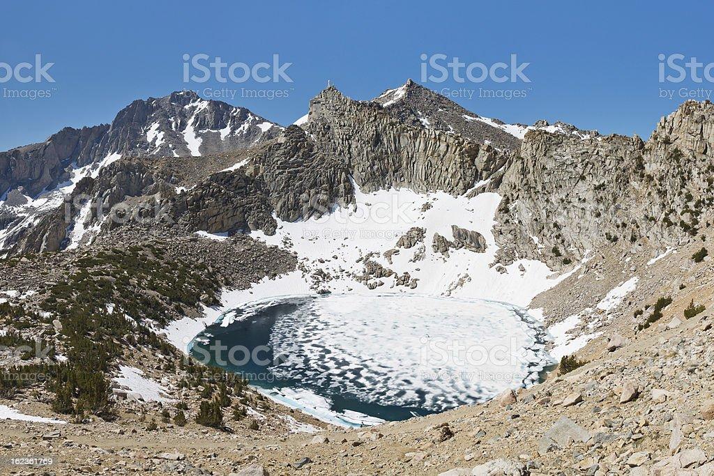 Frozen Alpine Lake stock photo