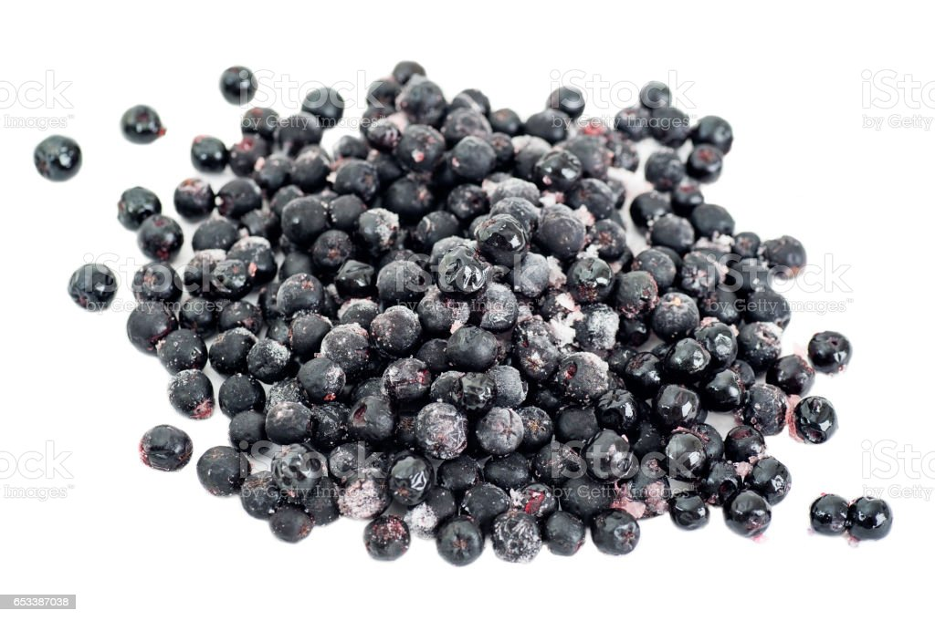 Frozen Aronia Berries stock photo