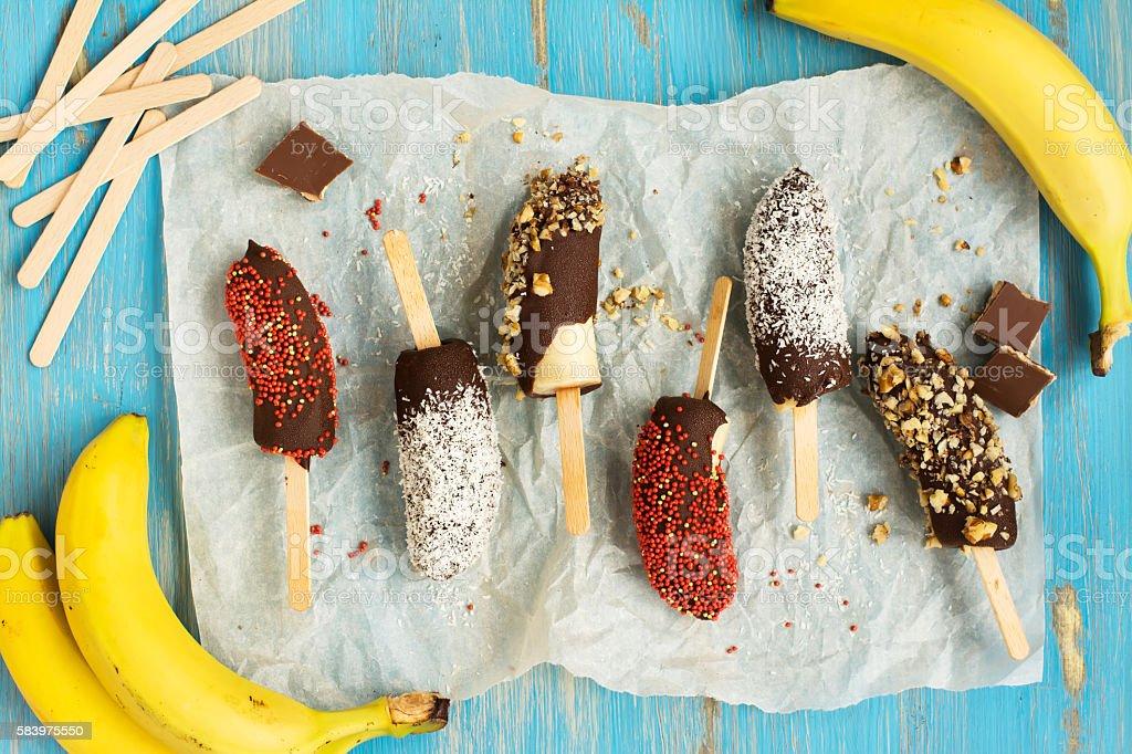 Frozen banana popsicles stock photo