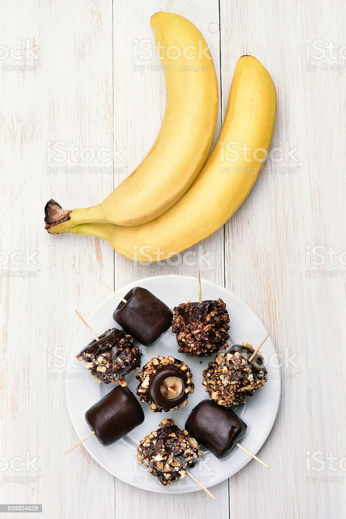 Frozen banana, top view stock photo
