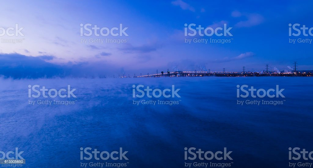 Frozen bay stock photo