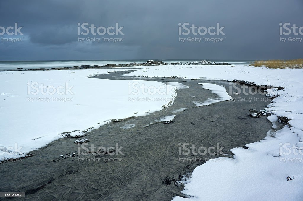Frozen beach, Flakstadøya, Lofoten Islands royalty-free stock photo
