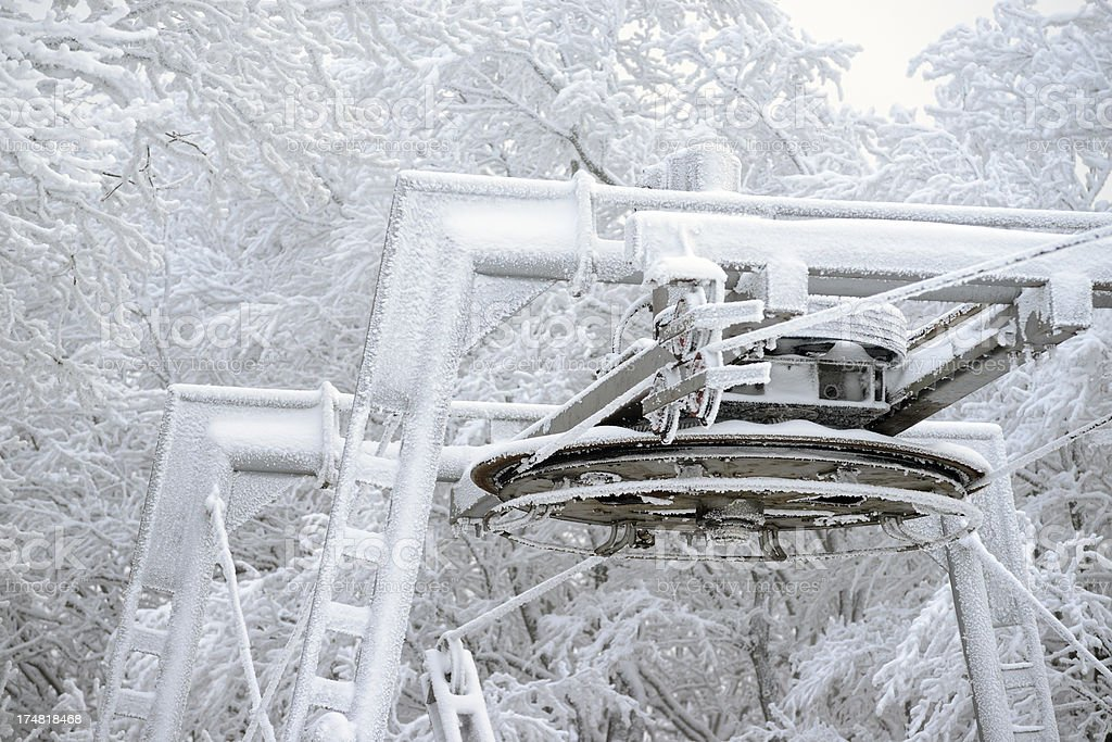 Frozen cableway wheel royalty-free stock photo