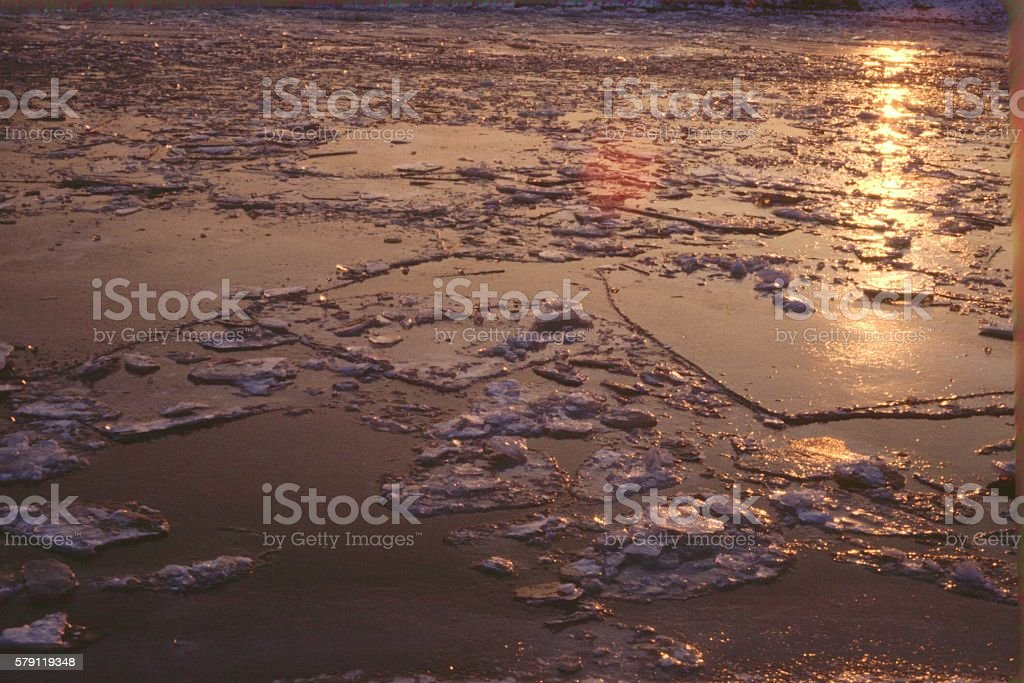 Frozen Canal at sunset, Erlangen, Germany stock photo