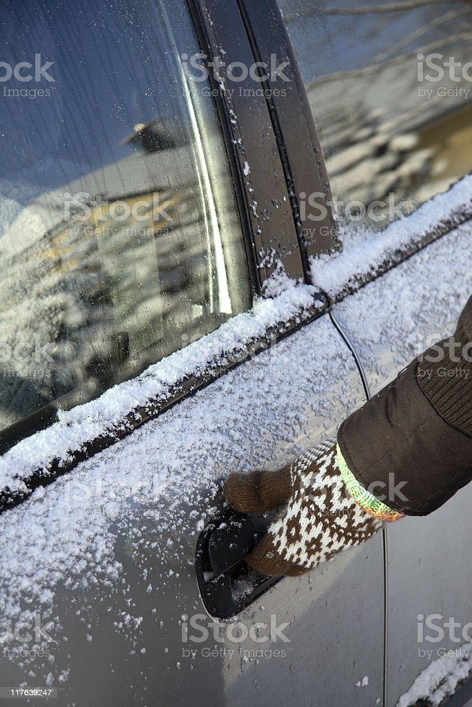 frozen car door stock photo