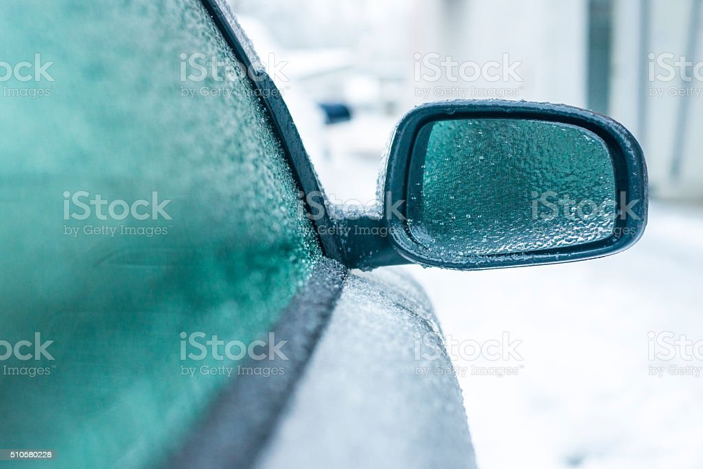 Frozen car in the morning stock photo