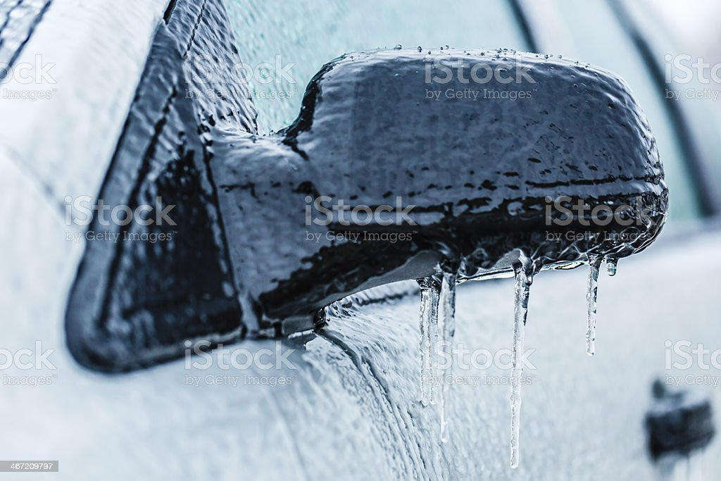 Frozen car side-view mirror royalty-free stock photo