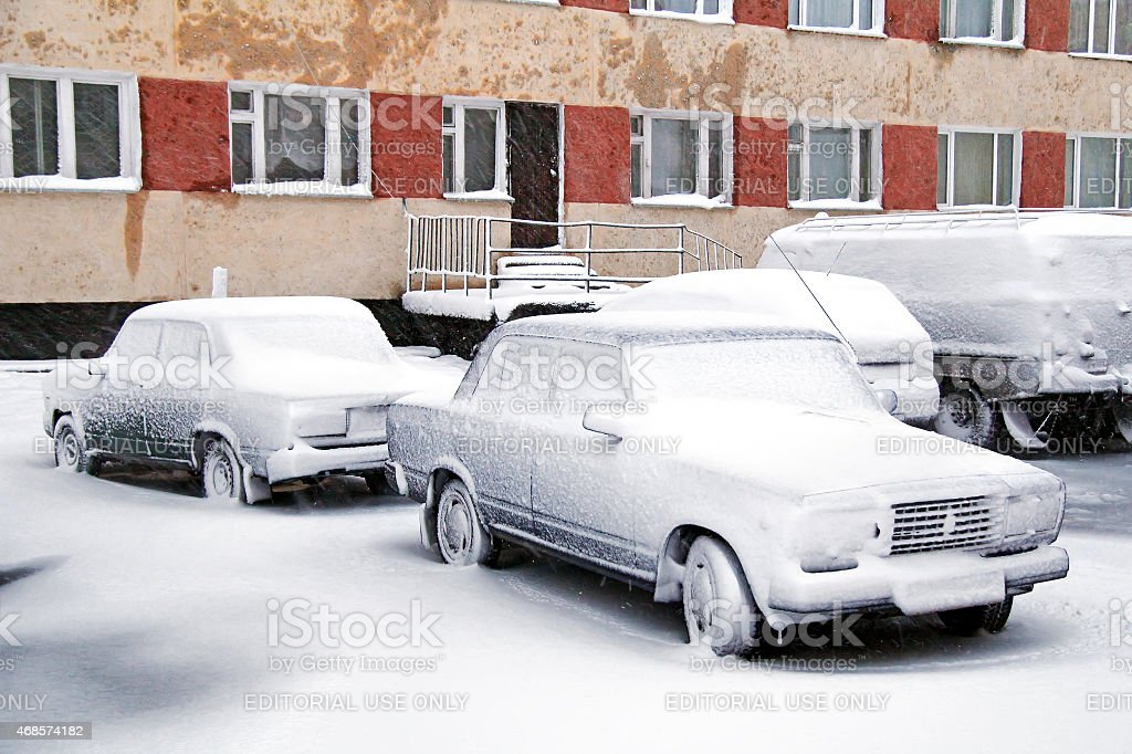 Frozen cars stock photo