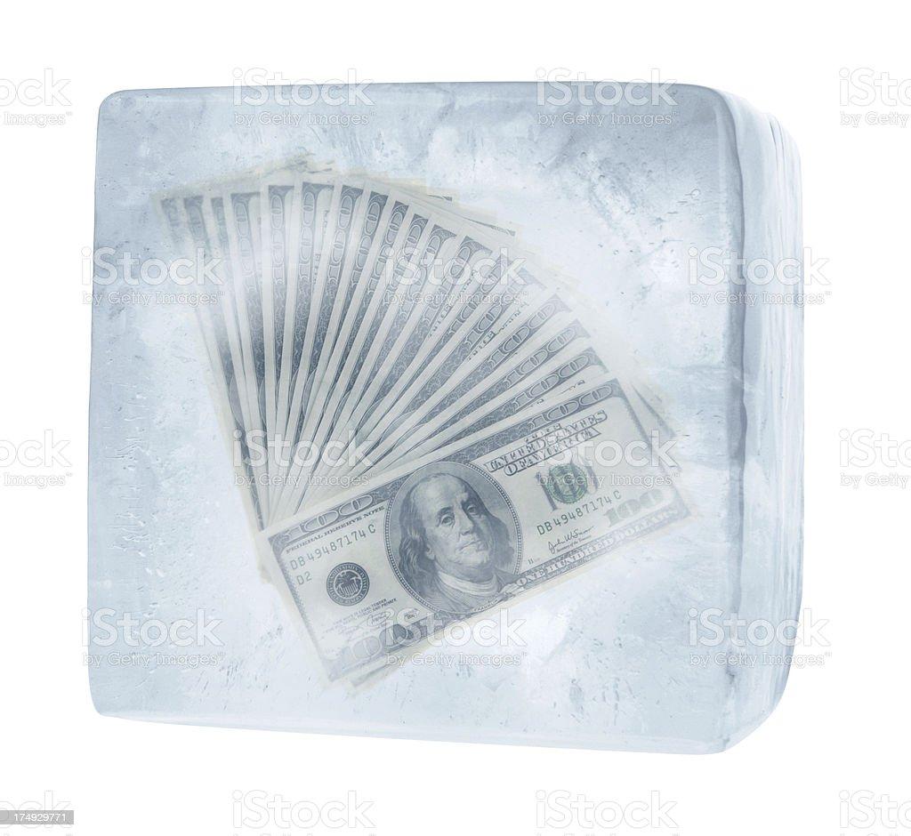Frozen Cash stock photo