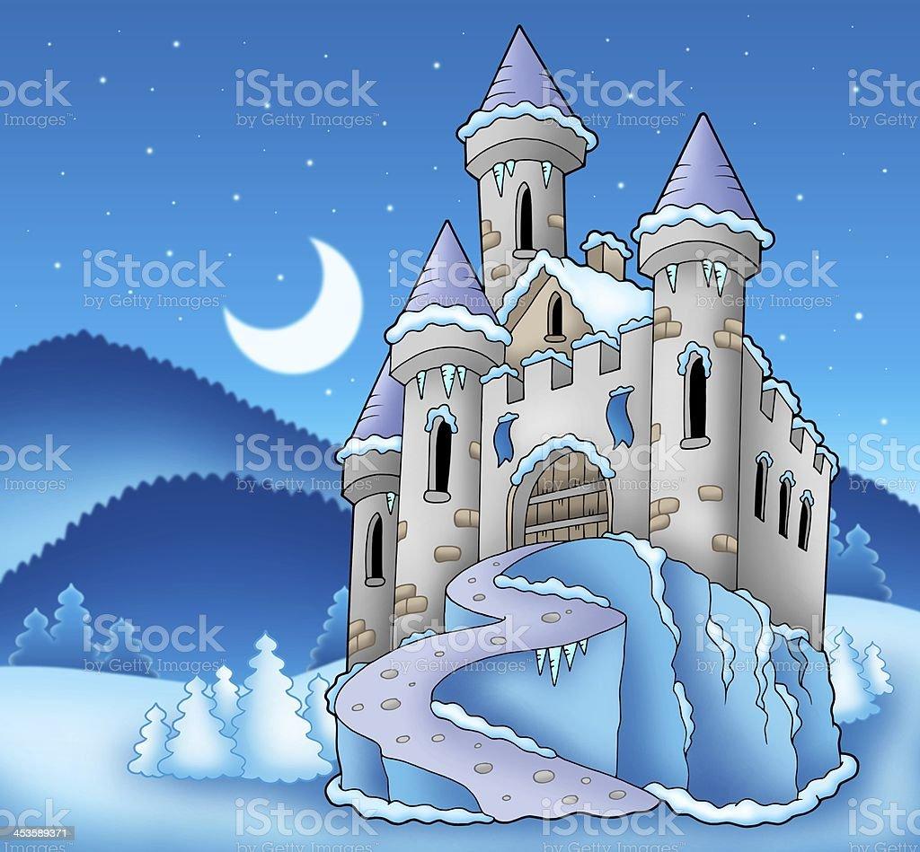 Frozen castle in winter landscape stock photo