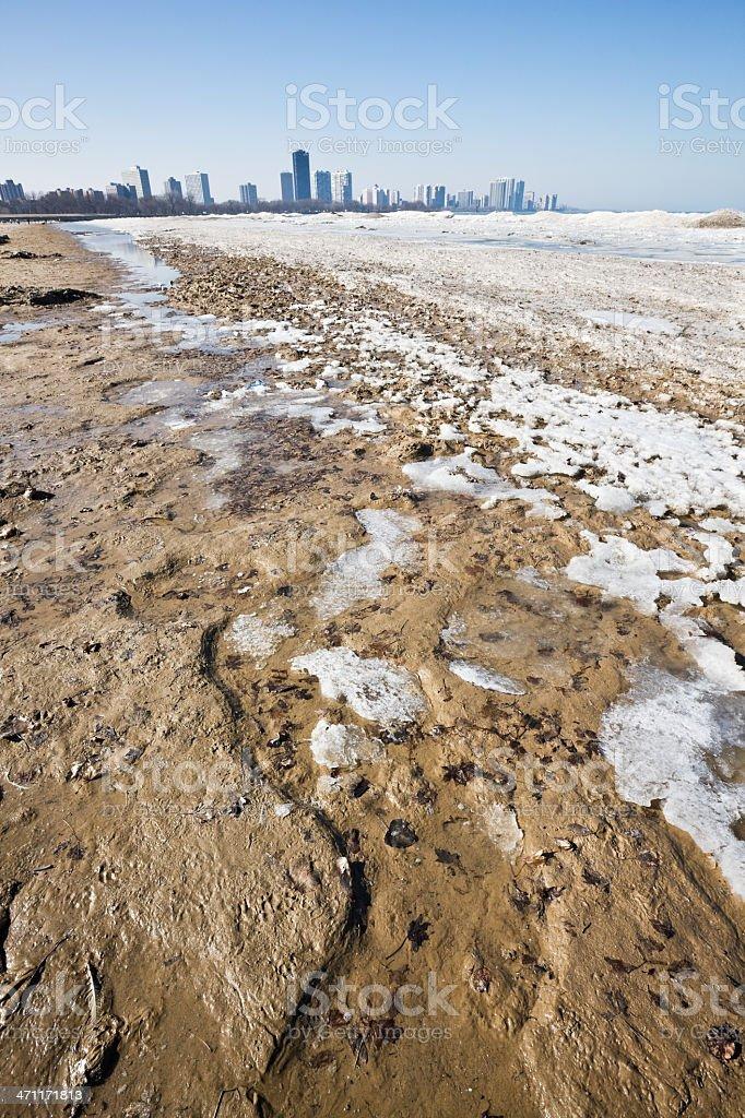 Frozen Chicago Beach stock photo