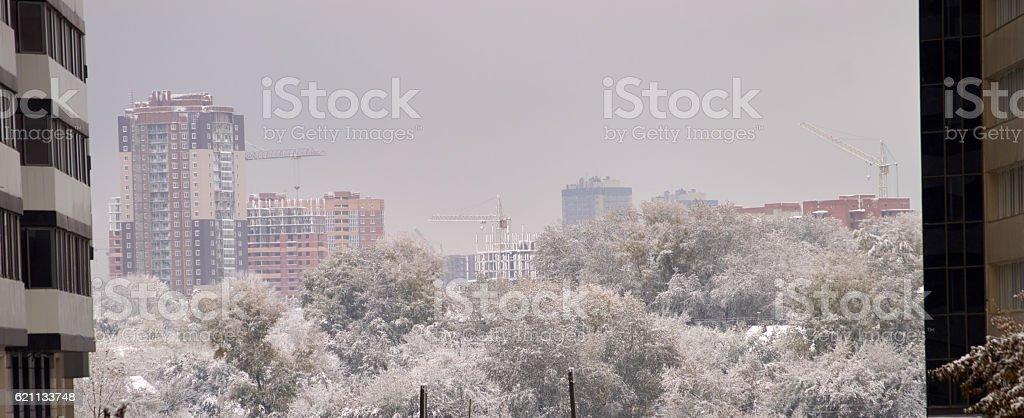 frozen city stock photo