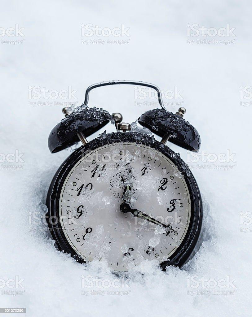 Frozen clock stock photo